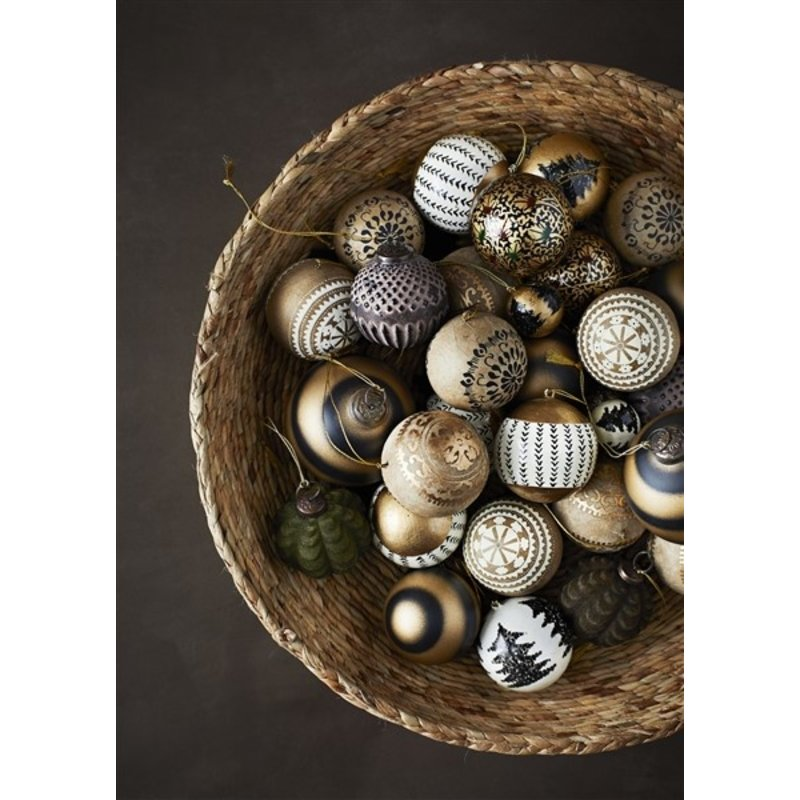 Madam Stoltz-collectie Handgemaakte papiermaché kerstbal naturel goud
