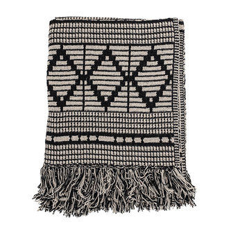Bloomingville Throw, Black, Recycled Cotton