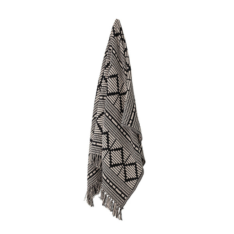 Bloomingville-collectie Throw, Black, Recycled Cotton
