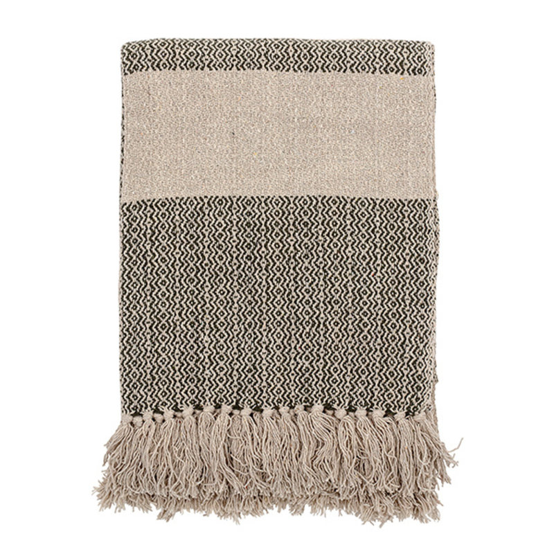 Bloomingville-collectie Throw, Green, Recycled Cotton