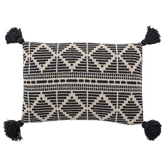 Bloomingville Cushion, Black, Recycled Cotton