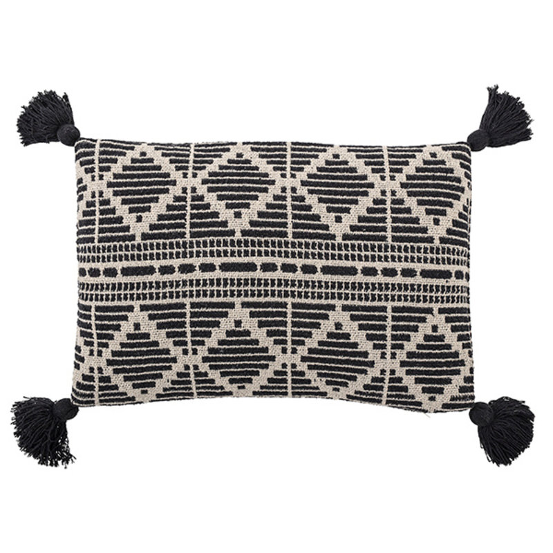 Bloomingville-collectie Cushion, Black, Recycled Cotton