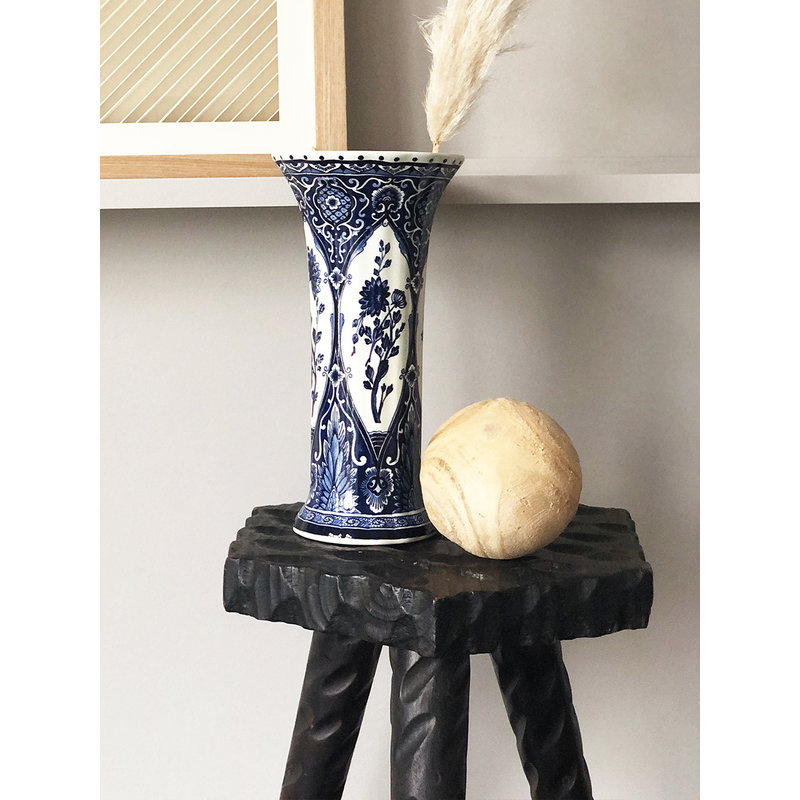 DEENS LOVES-collectie Vintage Vase with flower drawing in shades of blue