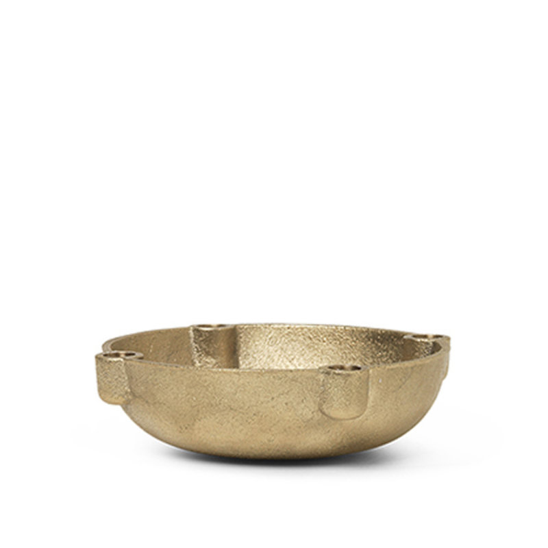 ferm LIVING-collectie Bowl Candle Holder - Brass - Small