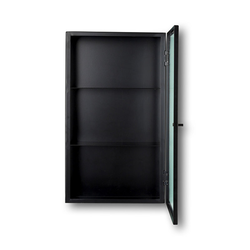 ferm LIVING-collectie Haze Wall Cabinet - Reeded Glas - Black