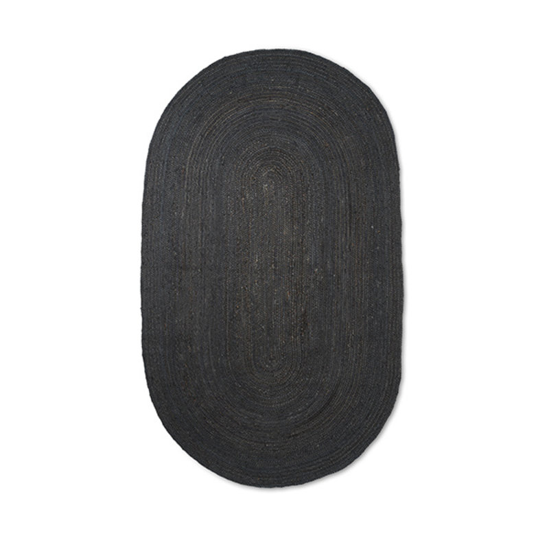 ferm LIVING-collectie Eternal Oval Jute Rug - Large - Black