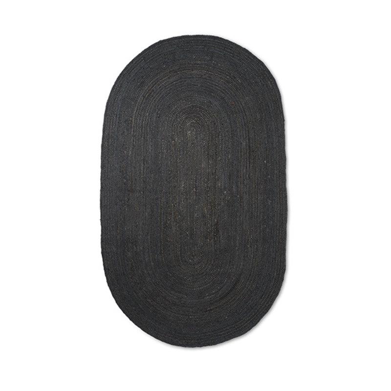 ferm LIVING-collectie Vloerkleed Eternal jute ovaal L zwart