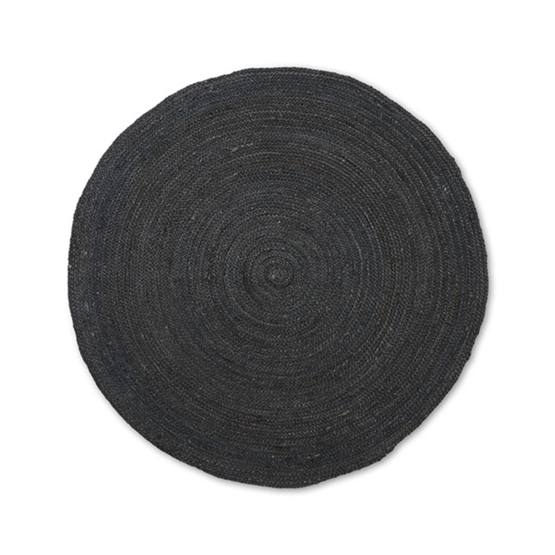 ferm LIVING-collectie Eternal Round Jute Rug - Small - Black