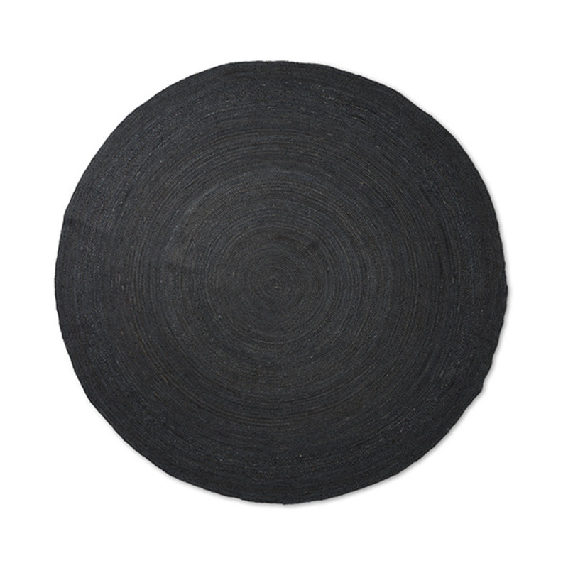 ferm LIVING-collectie Eternal Round Jute Rug - Large - Black