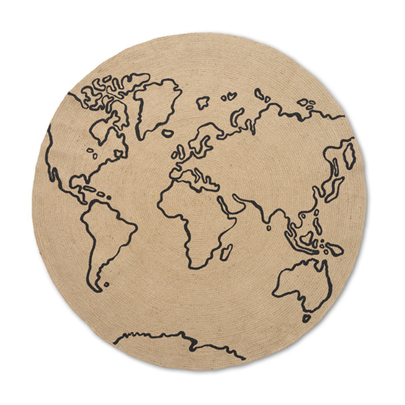 ferm LIVING-collectie Vloerkleed World jute L