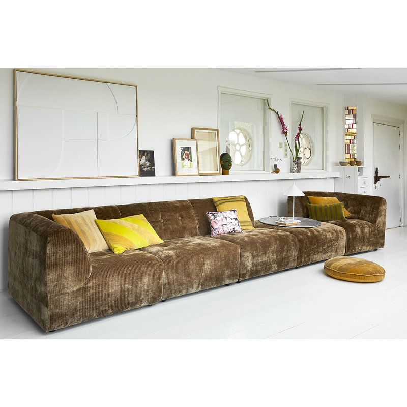 HKliving-collectie Vint bank element B - middenstuk - corduroy velvet, aged gold