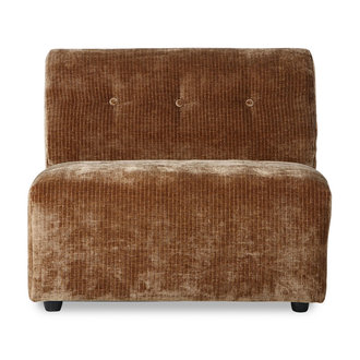 HKliving Vint bank element B - middenstuk - corduroy velvet, aged gold