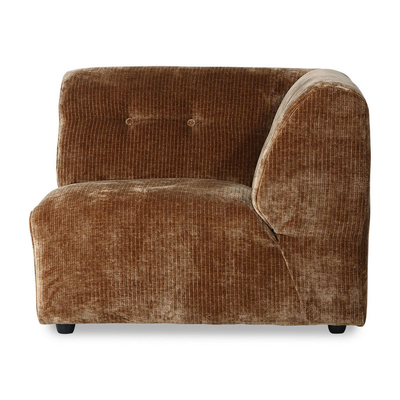 HKliving-collectie vint couch: element C,  corduroy velvet, aged gold
