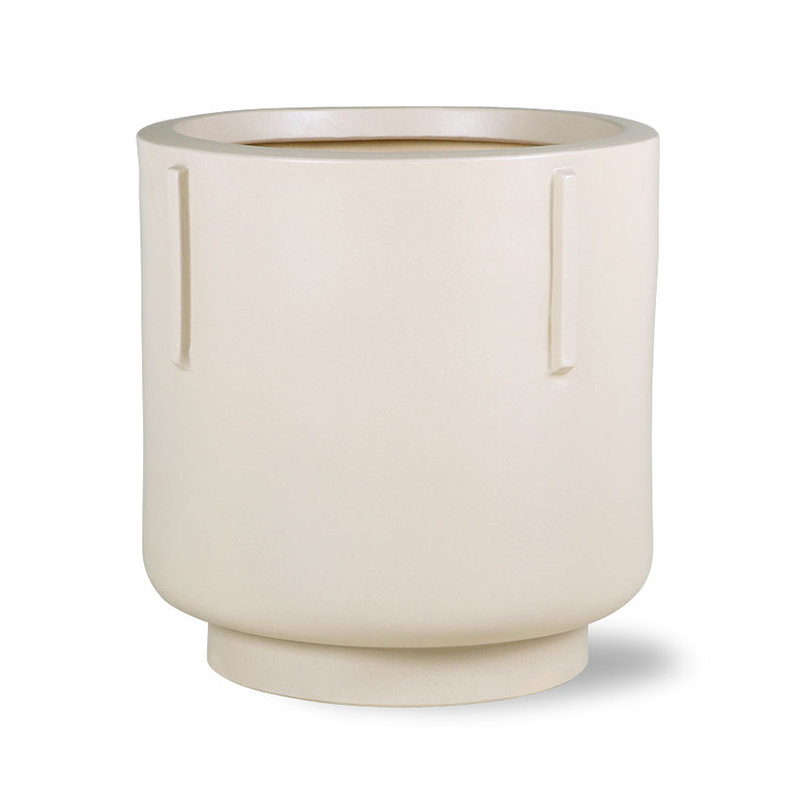 HKliving-collectie footed pot earthenware cream