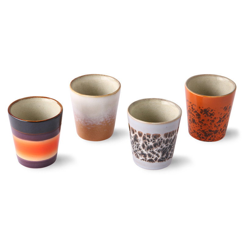 HKliving-collectie ceramic 70's ristretto mugs (set of 4cm