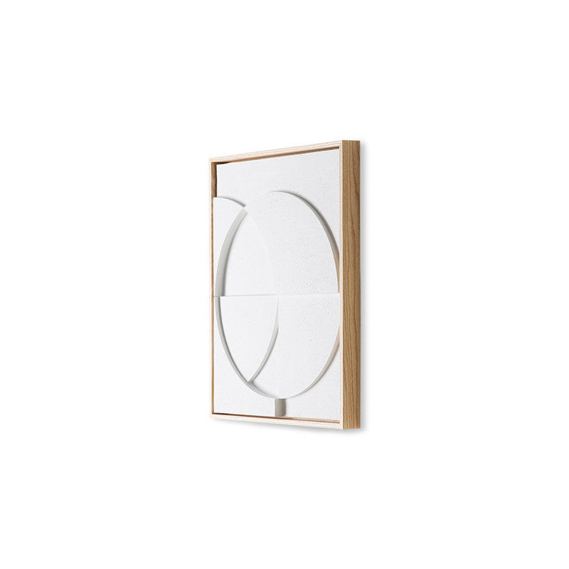 HKliving-collectie Framed relief kunst paneel wit C small