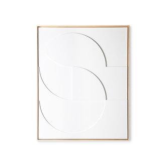HKliving framed relief art panel white D large