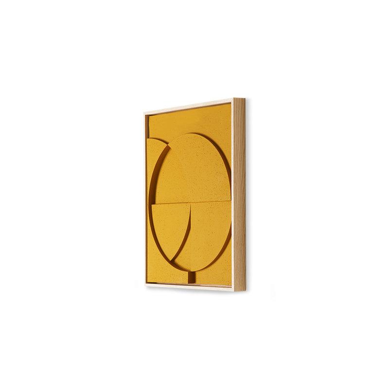 HKliving-collectie framed relief kunst paneel oker C small