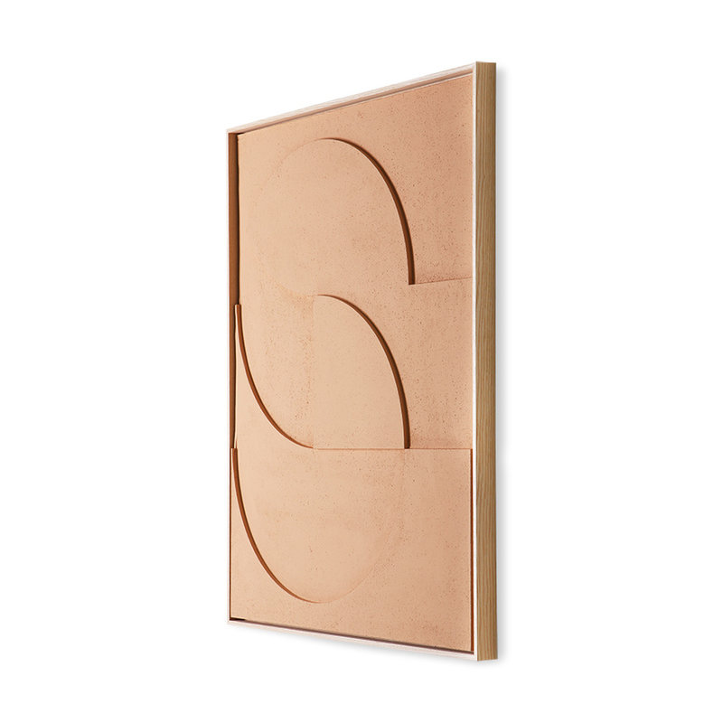 HKliving-collectie framed relief art panel peach D large