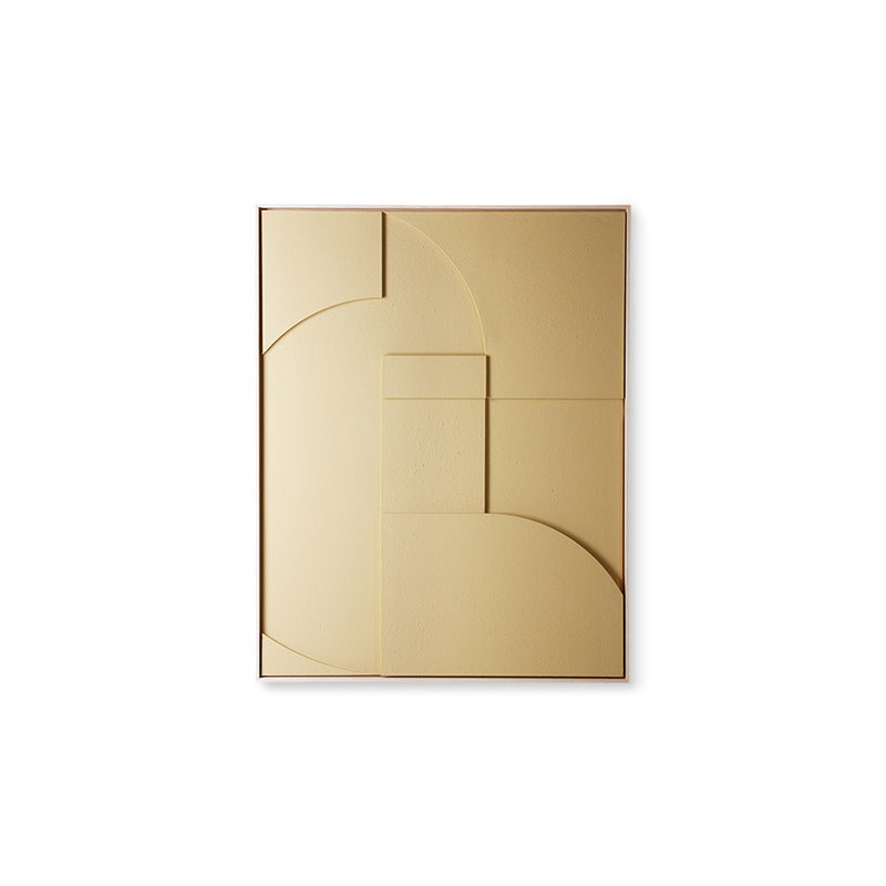 HKliving-collectie framed relief art panel sand A medium