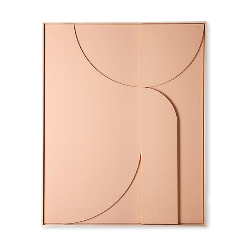 HKliving-collectie framed relief art panel peach B extra large