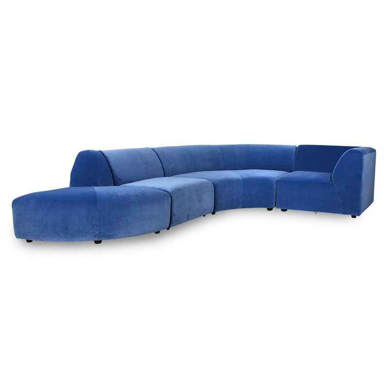 HKliving-collectie Jax bank element hocker royal velvet blauw