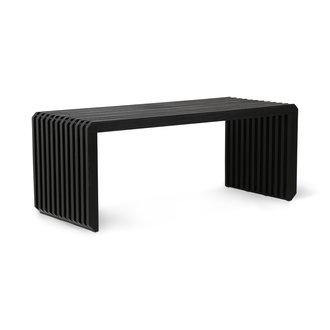 HKliving Bankje houten lamellen- element zwart