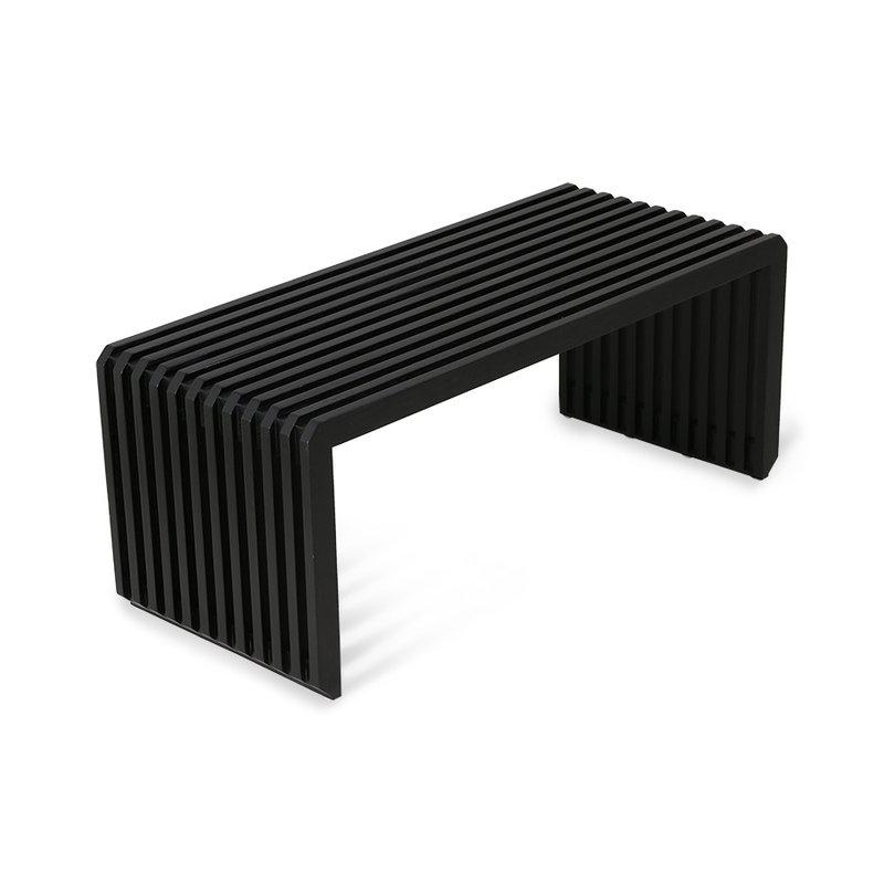 HKliving-collectie Bankje houten lamellen- element zwart
