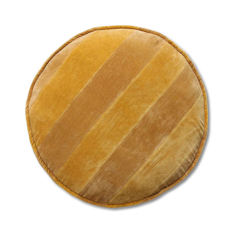 HKliving-collectie striped velvet seat cushion round ochre/gold (ø60cm