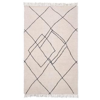 HKliving Hangeweven zigzag kleed zwart/wit 150x240cm