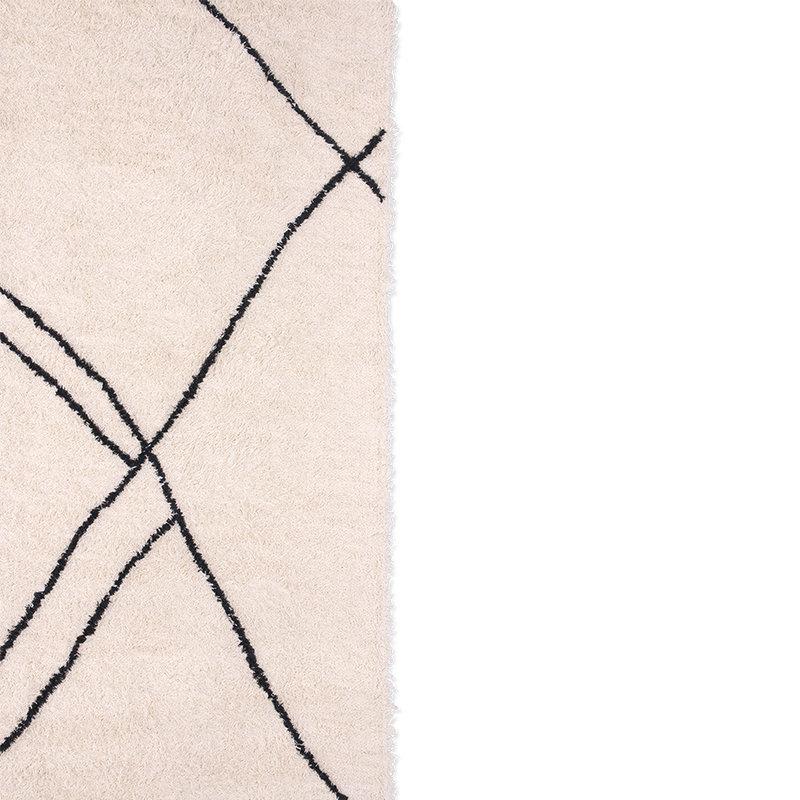 HKliving-collectie Hangeweven zigzag kleed zwart/wit 150x240cm