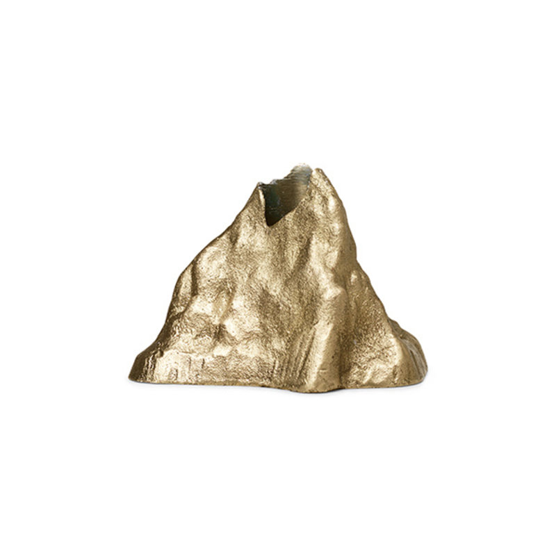 ferm LIVING-collectie Stone Candle Holder - Large - Brass