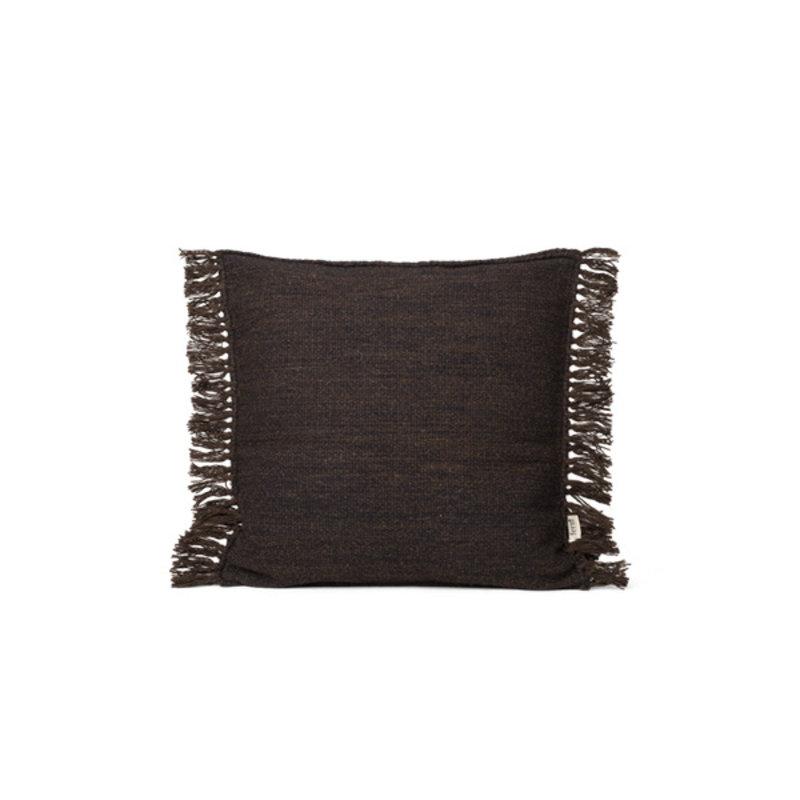 ferm LIVING-collectie Kelim Fringe Cushion - S - Dark Melange
