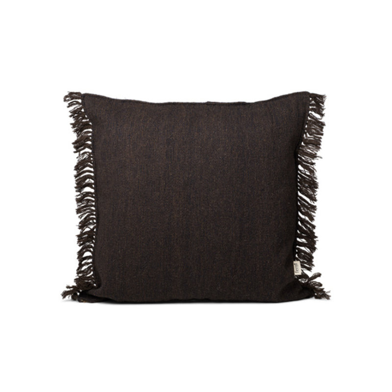 ferm LIVING-collectie Kelim Fringe Cushion - L - Dark Melange