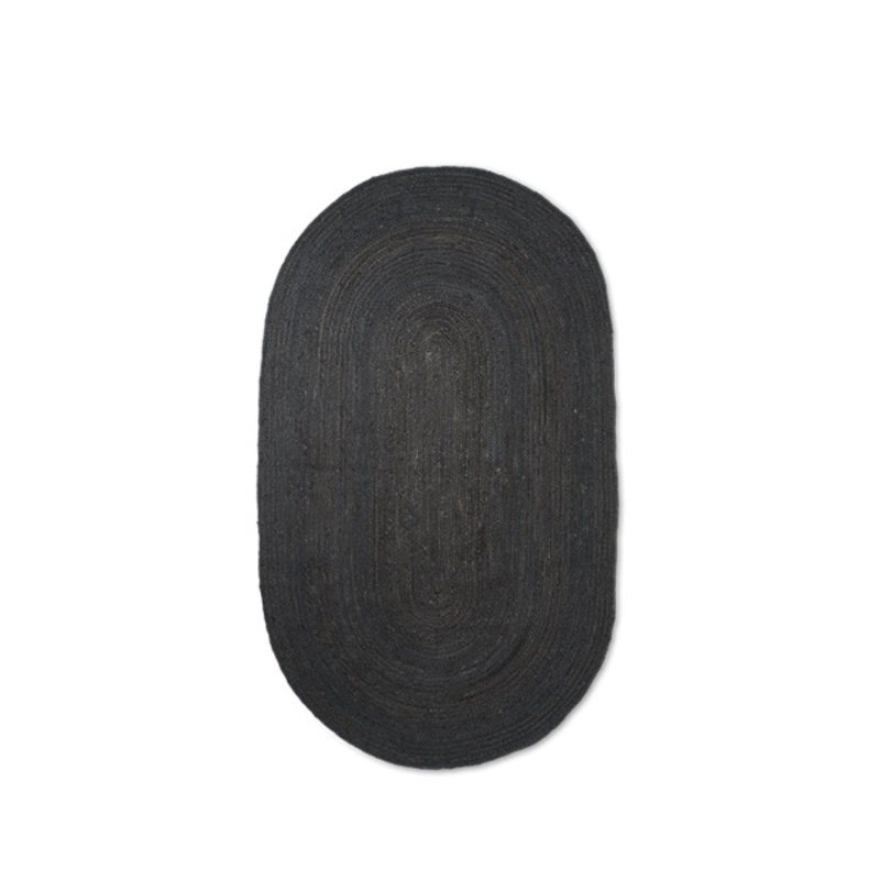 ferm LIVING-collectie Eternal Oval Jute Rug - Small - Black