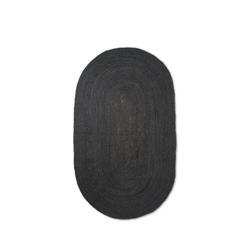 ferm LIVING-collectie Vloerkleed Eternal jute ovaal S zwart