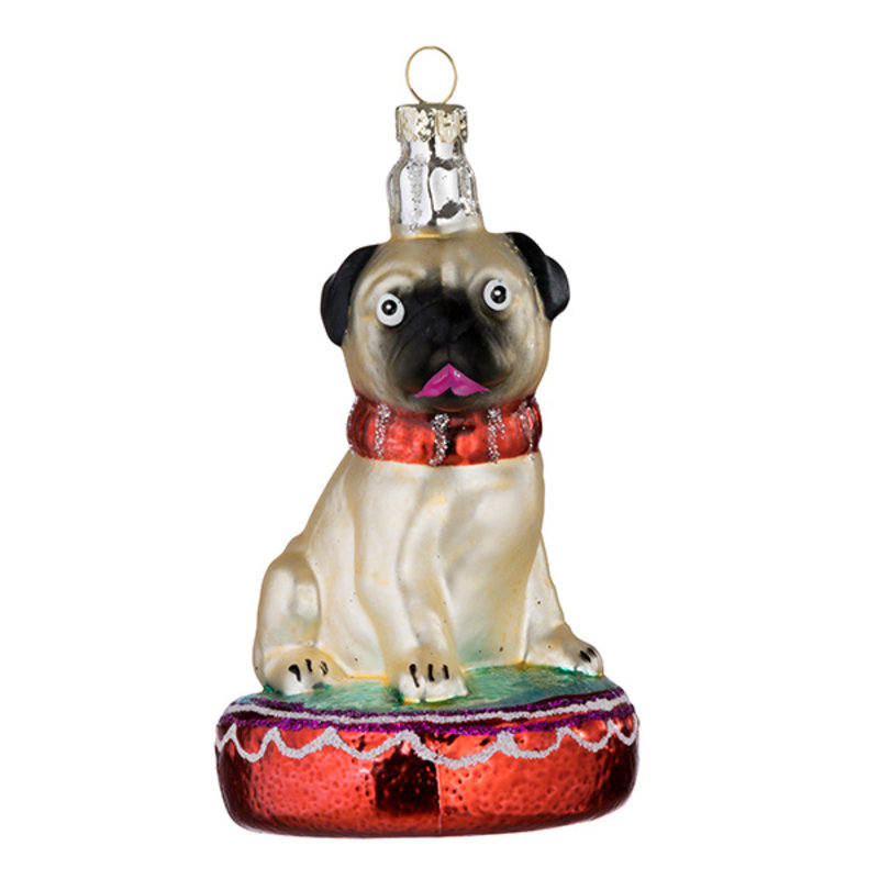 Bungalow-collectie Xmas Ornament Dog pearl