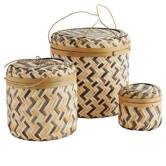 Madam Stoltz Round bamboo boxes w/ lid