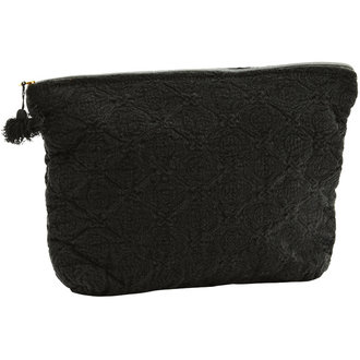 Madam Stoltz Embroidered linen toilet bag w/ tassel