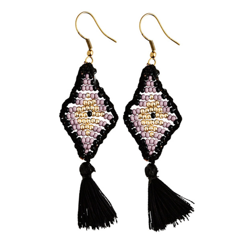 Madam Stoltz-collectie Beaded tassel earrings