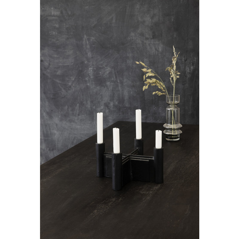 House Doctor-collectie Candle stand, Layers, Black, (candle/dia: 2 cm)
