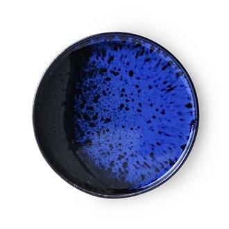 HKliving Keramiek seventies dessertbord Kobaltblauw
