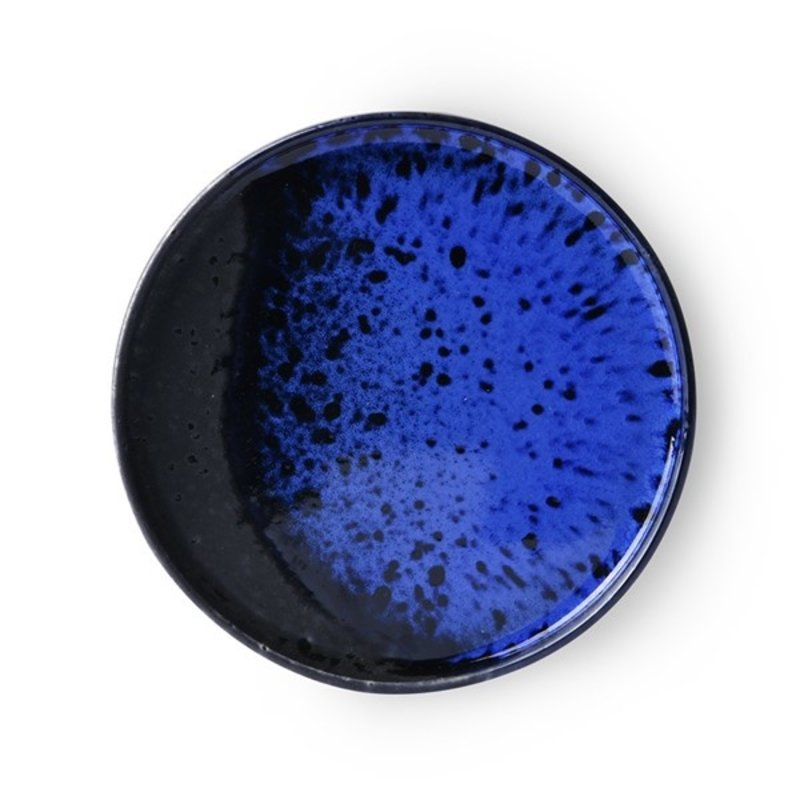 HKliving-collectie Keramiek seventies dessertbord Kobaltblauw