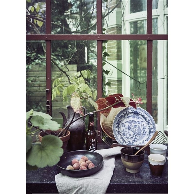 HKliving-collectie Keramiek diep bord rustiek zwart