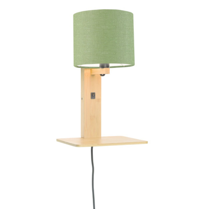 Good&Mojo-collectie Wall lamp Andes nat. shelf/shade 1815 ecolin. gr.forest