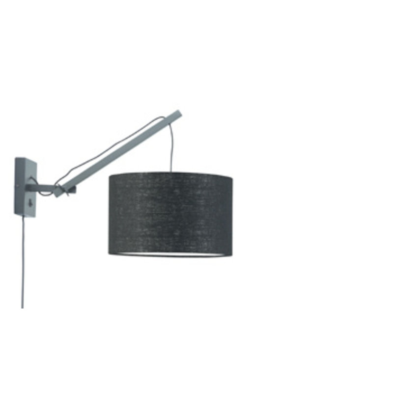 Good&Mojo-collectie Wall lamp Andes black/shade 3220 ecolin. bl. S