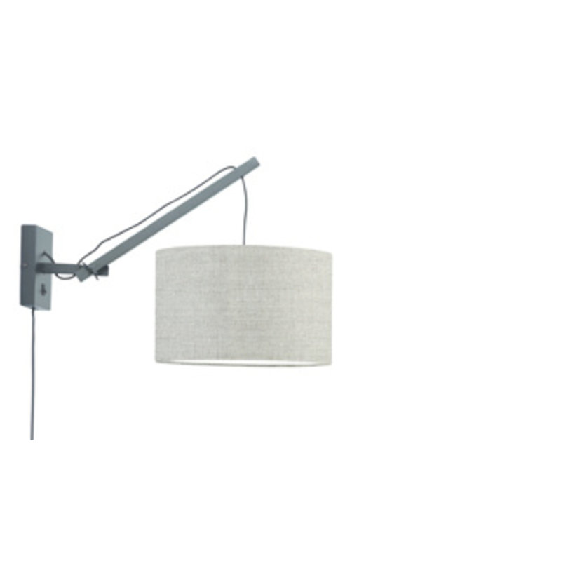 Good&Mojo-collectie Wall lamp Andes black/shade 3220 ecolin. dark, S