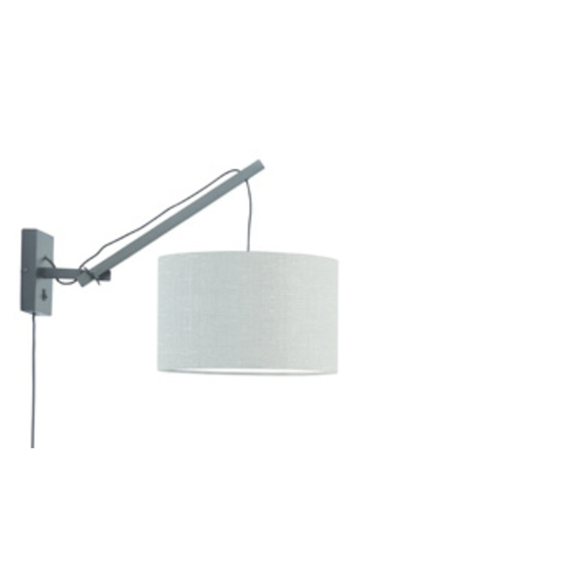 Good&Mojo-collectie Wall lamp Andes black/shade 3220 ecolin. l.grey, S