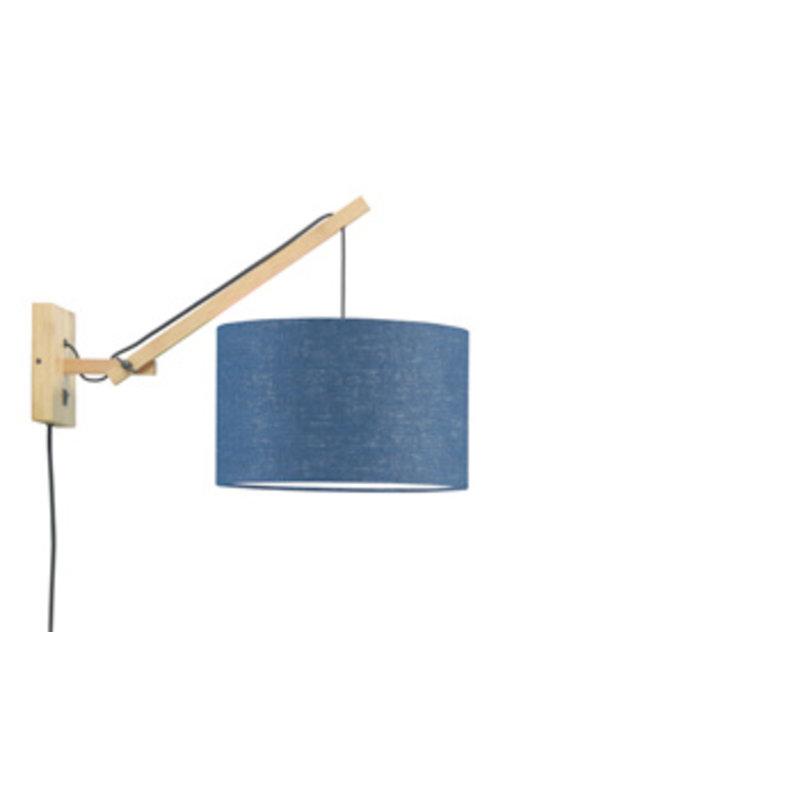 Good&Mojo-collectie Wall lamp Andes nat./shade 3220 ecolin. bl.denim, S