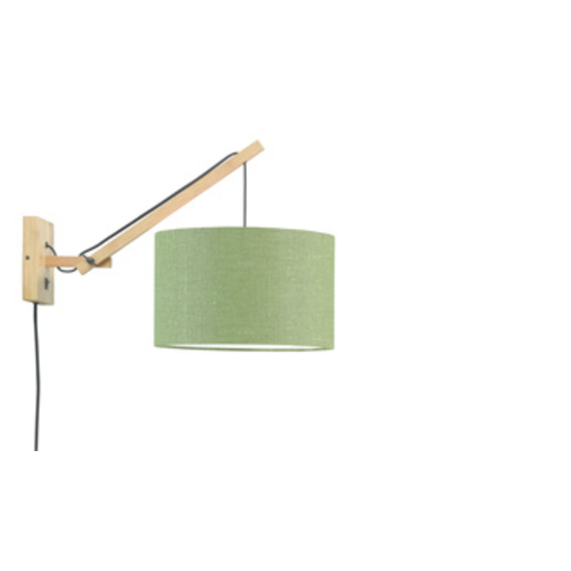 Good&Mojo-collectie Wall lamp Andes nat./shade 3220 ecolin. gr.forest, S